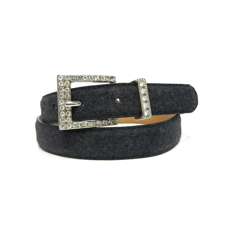"1"" Women's Embellished Silver Square Buckle on Quality Wool Felt Belt Strap"