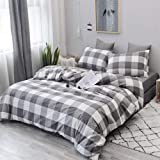 CoutureBridal Buffalo Plaid Duvet Cover Set Queen 90x90 Gingham Grey and White Grid Pattern 3 Piece Geometry Modern…