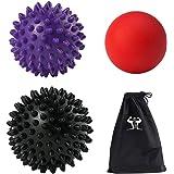 Masaje–Juego de Pelota (1lacrosse 1duro y 1pelota con pinchos suave) perfecto para punto de activación y liberación miofascial, mejor para terapia física Prenatal pie de Tejido Profundo y más