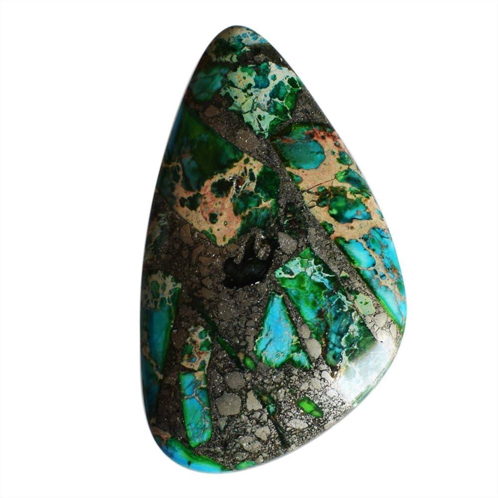 Colgante de cabujón azurita de 48 x 28 x 6 mm, piedra preciosa suelta, para bisutería, AG-9612