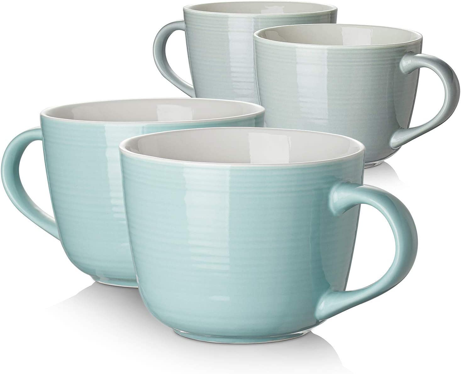 DOWAN Porcelain Large Coffee Mug Set of 2-17 Ounces Microwave Safe and Oven Safe Wide Mug for Cappuccino, Latte Coffee, Soup, Tea, Cereal, Ice Cream, Gray