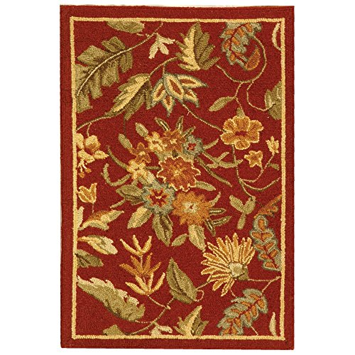 Safavieh Chelsea Collection HK141C Hand-Hooked Red Premium Wool Area Rug (1'8