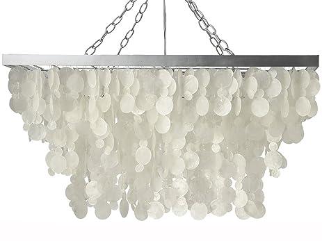 KOUBOO Rectangular Rain Drop Capiz Pendant Lamp, Natural White
