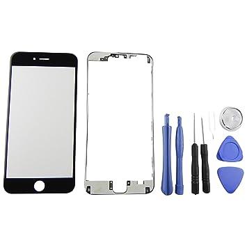 2553e36e6b4 Lente de cristal frontal para pantalla de iPhone 6 Plus con 8 herramientas  y marco negro adhesivo de la marca Toka: Amazon.es: Electrónica