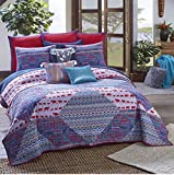 3 Piece Tribal Elephant Abstract Pattern Quilt Set Queen Size, Featuring Colorful Zigzag Africa Culture Design Comfortable Bedding, Stylish Traditional Artful Bedroom Decoration, Blue, Red, Multicolor