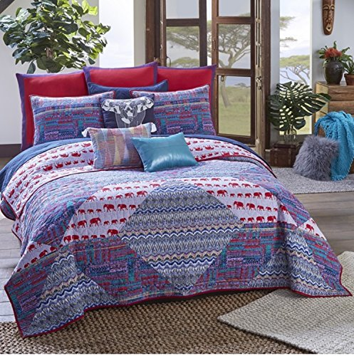 3 Piece Tribal Elephant Abstract Pattern Quilt Set Queen Size, Featuring Colorful Zigzag Africa Culture Design Comfortable Bedding, Stylish Traditional Artful Bedroom Decoration, Blue, Red, Multicolor by SE