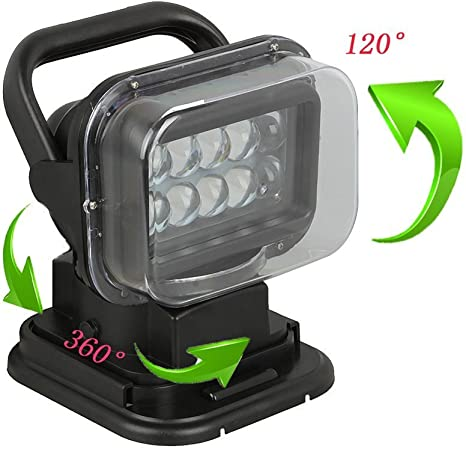 GEARDO LED Magnetic Remote Search Light 12v 24v 360/º 180/º Rotating Work Light for Off-Road Trucks SUV Car Boat Home Security Emergency Vehicles Search Lighting