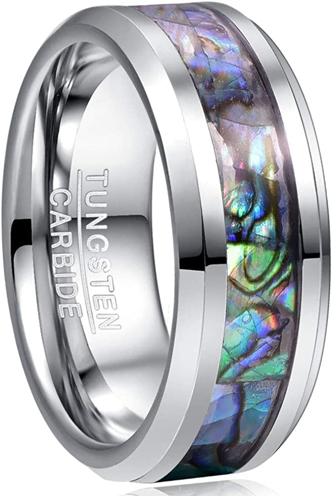 Details about  /8mm Mother Of Pearl Inlay Titanium Band Wedding Ring Cream