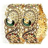 YouBella Jewellery Dancing Peacock Traditional Antique Gold Plated Bangles For Women