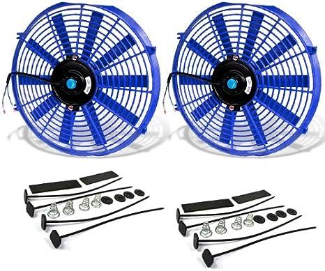 DNA MOTORING RAF-10-BL+FMK 10 High Performace Electric Cooling Slim Radiator Fan w//Mounting Kit Blue
