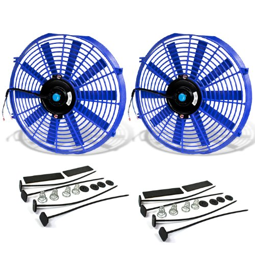 Auto Fan Shroud Cooling Motor ((Pack of 2) 14 Inch High Performance 12V Electric Slim Radiator Cooling Fan w/Mounting Kit - Blue)