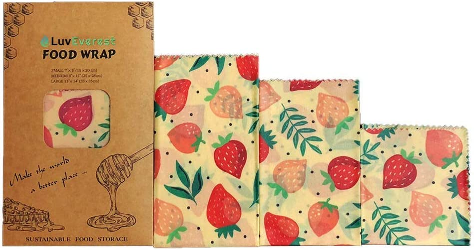 LuvEverest - Beeswax Wrap | Organic Food Storage | Food Storage Wrappers | Reusable, Washable, & Eco-Friendly | Plastic & BPA Free | Biodegradable | Perfect for Dining & Travelling | Pack of 3