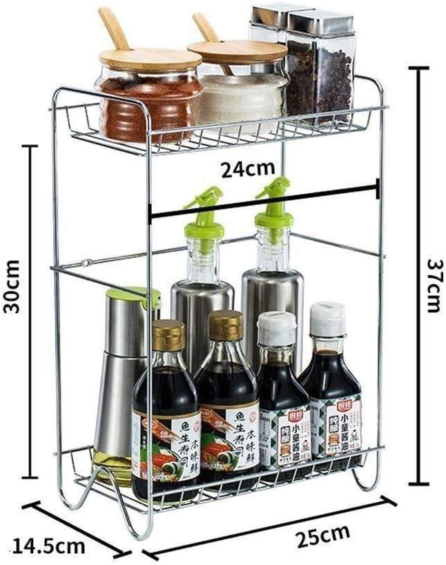 DJSMsnj Portaposate 2-Tier Standing Rack Cucina Bagno controsoffitto dell'organizzatore di immagazzinaggio mensola Holder Spice Rack (Color : Style a) Style A