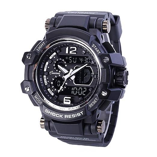 Hombres Reloj Analš®gico LED Relojes Dual Time Militar Multifuncional Impermeable Quartz Sport Reloj Negro: Amazon.es: Relojes