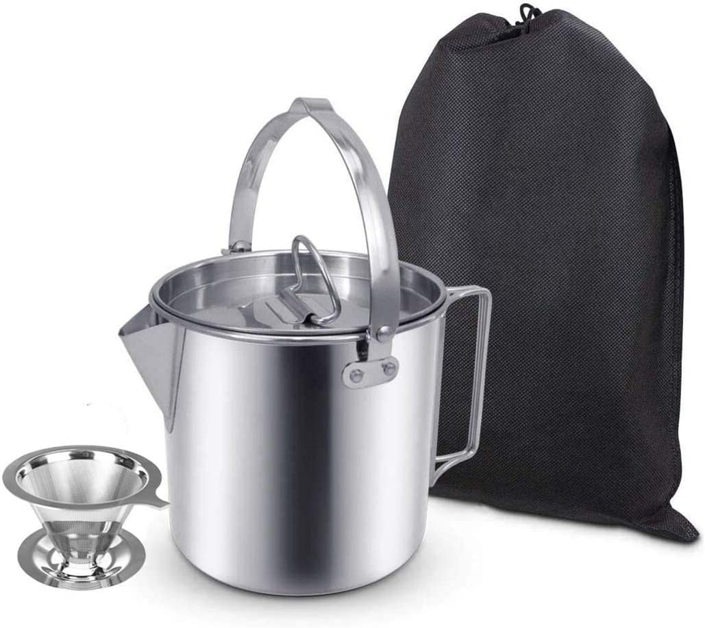 1.2L Camping Pot Teakettle Lightweight Compact Coffee Pot Teapot for Outdoor Hiking Backpacking Picnic Camping Kettle Stainless Steel Outdoor Cooking Kettle 1.2L