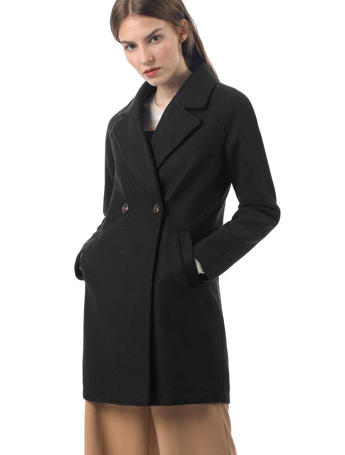 Allegra K Women's Notched Lapel Double Breasted Raglan Winter Coats