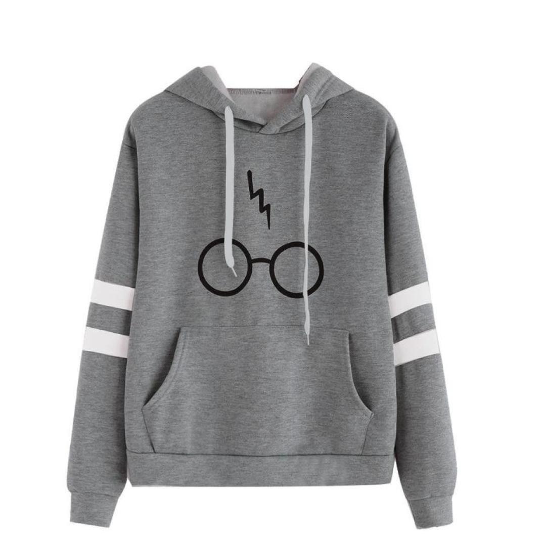 AMSKY Women Teen Girls Hoodie, Print Stripe Long Sleeve Sweatshirt Hooded Pullover Tops Blouse with Pockets (XL, Gray)
