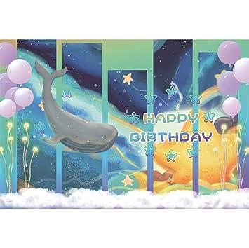 Cassisy 2,2x1,5m Vinilo Cumpleaños Telon de Fondo Feliz cumpleaños Pajarito Cielo Estrellado Ventana de Vidrio Los Globos Fondos para Fotografia Party ...