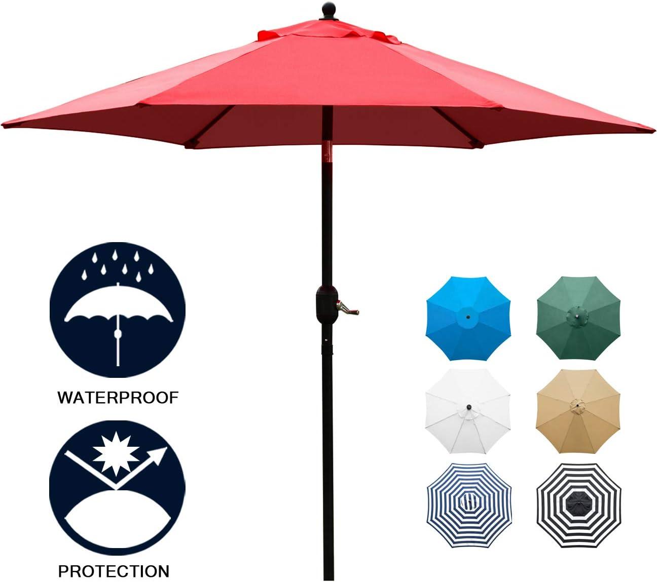 Sunnyglade 7.5 Patio Umbrella Outdoor Table Market Umbrella with Push Button Tilt Crank, 6 Ribs Red