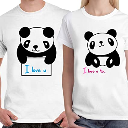 1cfaa97573e Buy DreamBag Couple T - Shirt- I Love You Cute Panda Unisex Couple T ...
