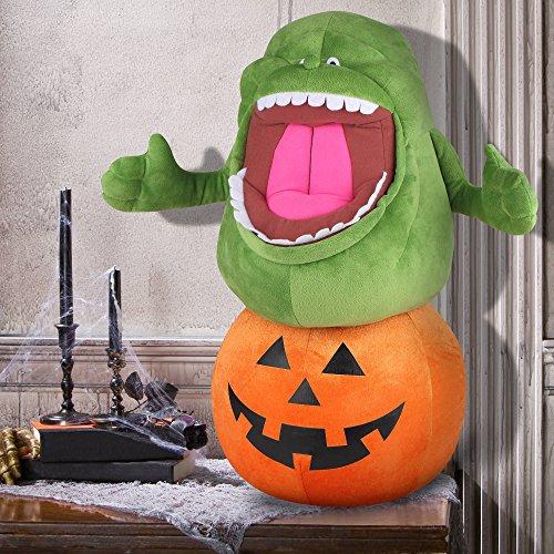 25 Inch Ghostbusters Slimer on Pumpkin Large Halloween Plush Greeter]()