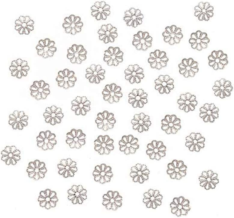 MegaPet Silver Plated Iron Filigree Flower Bead Caps 9mm Terminators Metal End Caps Spacers for Earrings Bracelet Necklace Jewelry Making Crafting About 134pcs//Bag