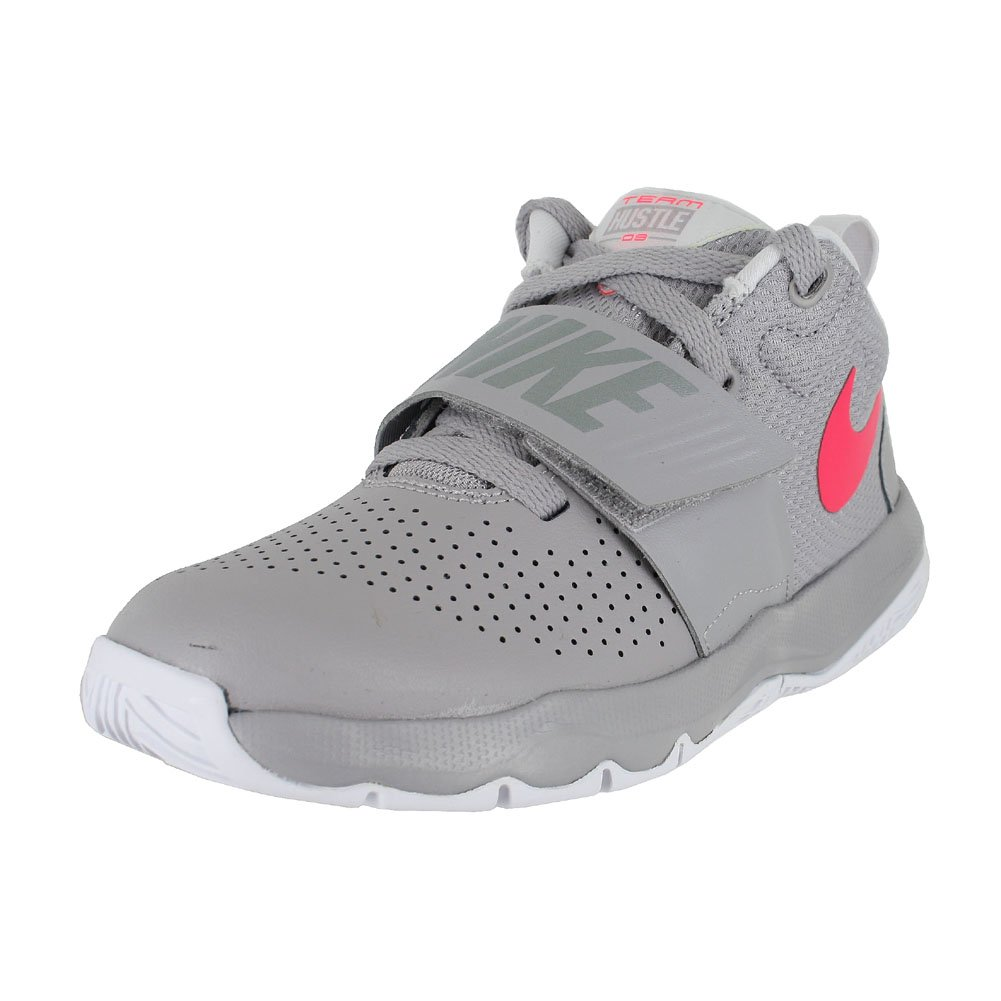 NIKE Boy's Team Hustle D 8 (PS) Pre School Basketball Shoe Atmosphere Grey/Racer Pink/Vast Grey Size 13 Kids US