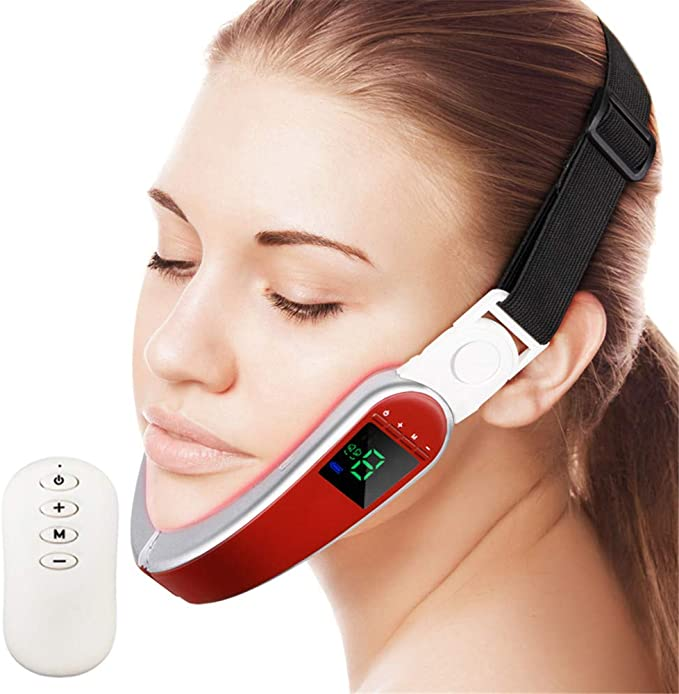 Amazon.com: WODT Electric Micro-Current V Face Shaping Massager, Hot Compress Therapy Face Slimming Mask V Shape Double Chin Firm Lift Up,Red: Home & Kitchen