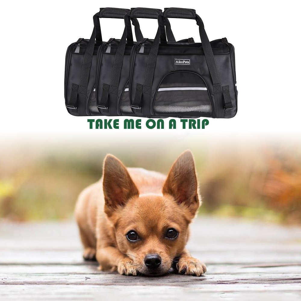 Cat Carrier, Airline Approved Pet Carrier for Medium Cat Travel Carrier Soft Sided Small Dog Carrier Fits Under Seat Small Animal Carrier Puppy Carrier with Fleece Bedding & Safety Lock, Medium Size by AikoPets (Image #3)