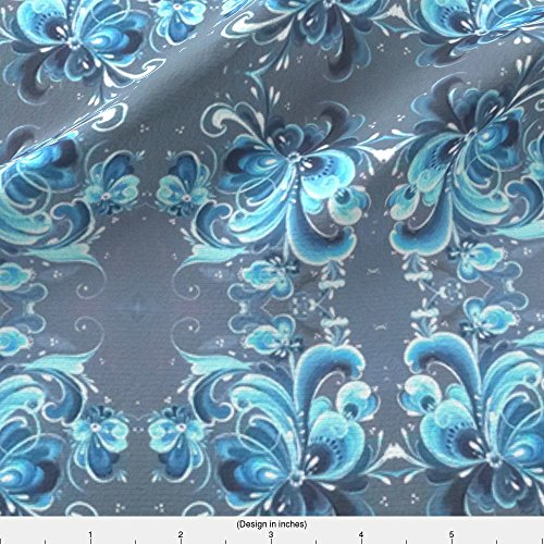 Norway Fabric Telemark Blue Norwegian Rosemaling by Forestwooddesigns Printed on Lightweight Cotton Twill Fabric by the Yard by - Light Norway Blue