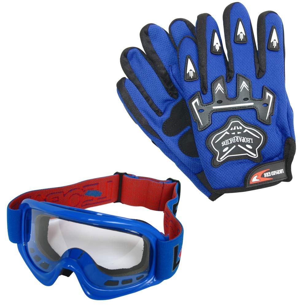 Leopard LEO-X16 Blue Kids Motocross Helmet XL 55cm /& Goggles /& Camo Motocross Suit Jacket XL 11-12 Yrs XL 8cm /& Gloves