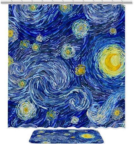 YOLIKA Cortina de Ducha,En Forma de coraz/ón de Luna Amarilla Brillante en un Cielo Estrellado con Flor de Ciruelo y Ramas,Tejido de poli/éster con Gancho,180x180