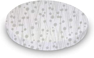 product image for SheetWorld Fitted Oval (Stokke Mini) - Grey Floral Stems - Made In USA