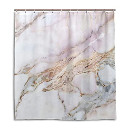 Amazon WellLee Fashion Custom Pink Marble Stone Shower Curtain
