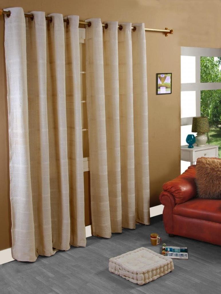 Breite x L/änge HOMESCAPES handgewobener Vorhang Rajput im 2er Set /Ösenvorhang Natur 167 x 182 cm Dekoschal in RIPP-Optik aus 100/% Reiner Baumwolle
