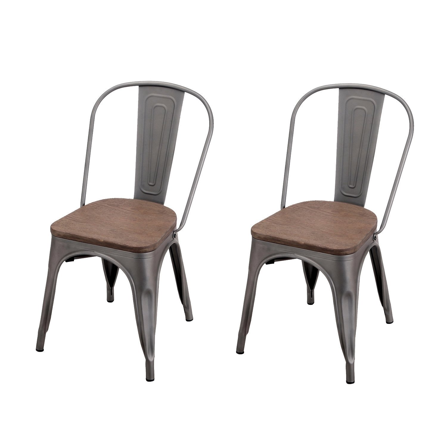 Adeco Metal Stackable Industrial Chic Dining Bistro Cafe Side Chairs - Wooden Seat - Grey (Set of 2)