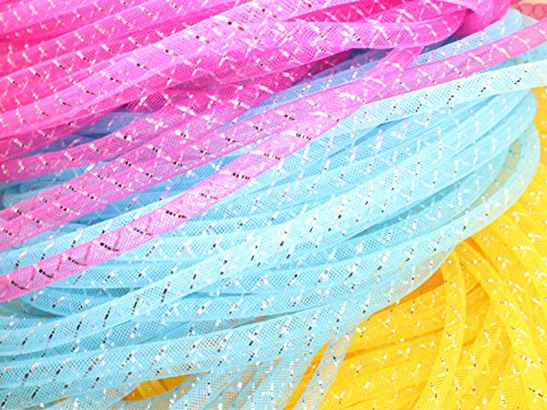 (Menghuan 80 Yards(16 bundles) Mesh Tubing Cord 8mm Fashion Bracelet/Necklace Cord Jewelry Accessory (Silver Thread))