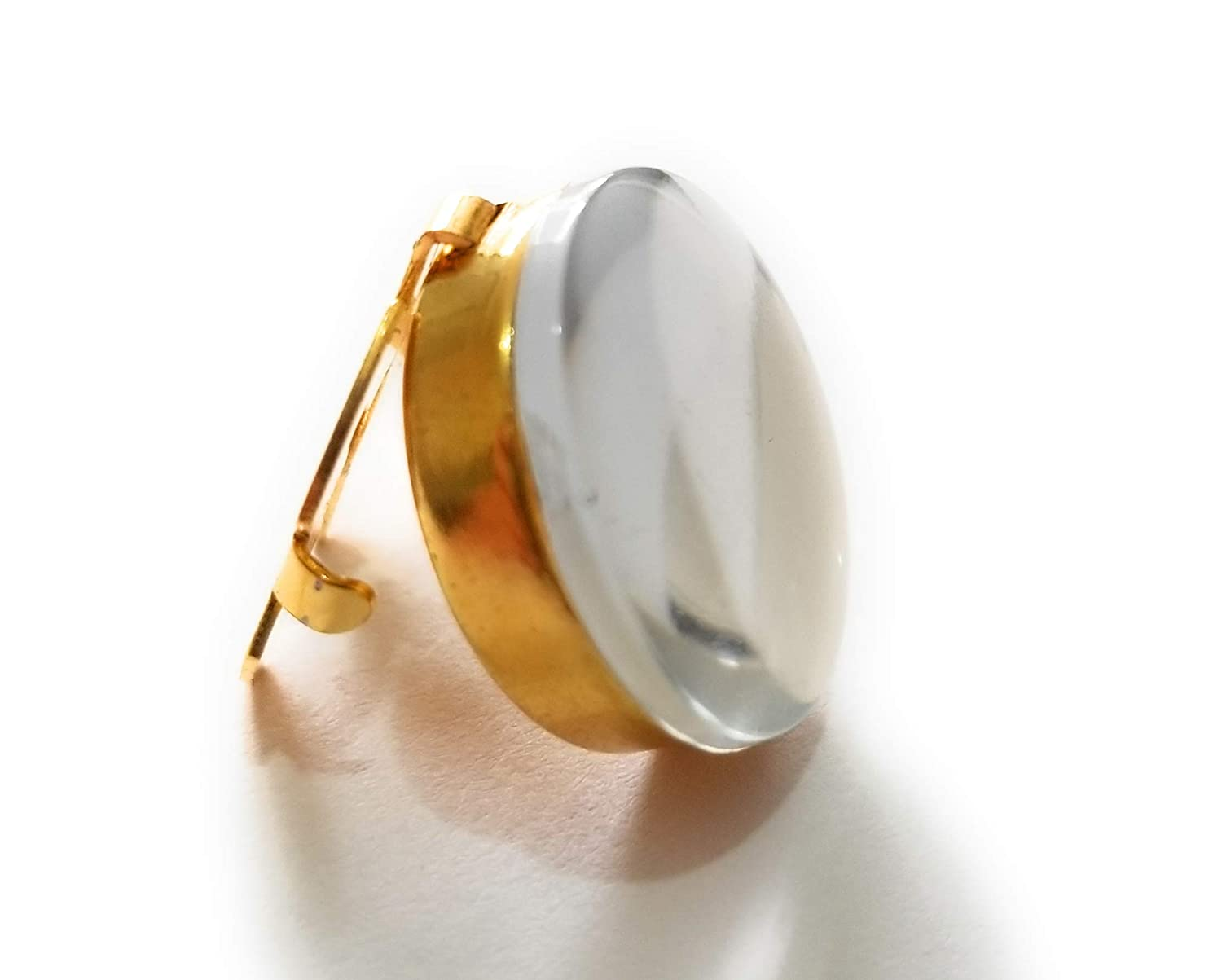 Gold Finish Button Cover Clear Center Stone