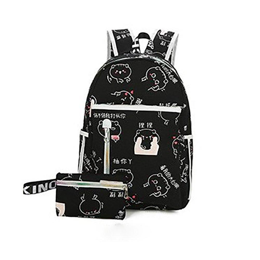 ThinkMax Fashion Casual Student Canvas Backpack Cartoon Printing Pattern Shoulders Bag Schoolbag Daypacks Rucksack Black