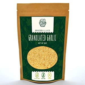 Spices Village Granulated Garlic, Garlic Granules for Cooking and Seasoning, Roasted Dry Minced Garlic Spice, Kosher Non GMO Gluten Free MSG Free, Resealable Bulk Bag 8 Oz