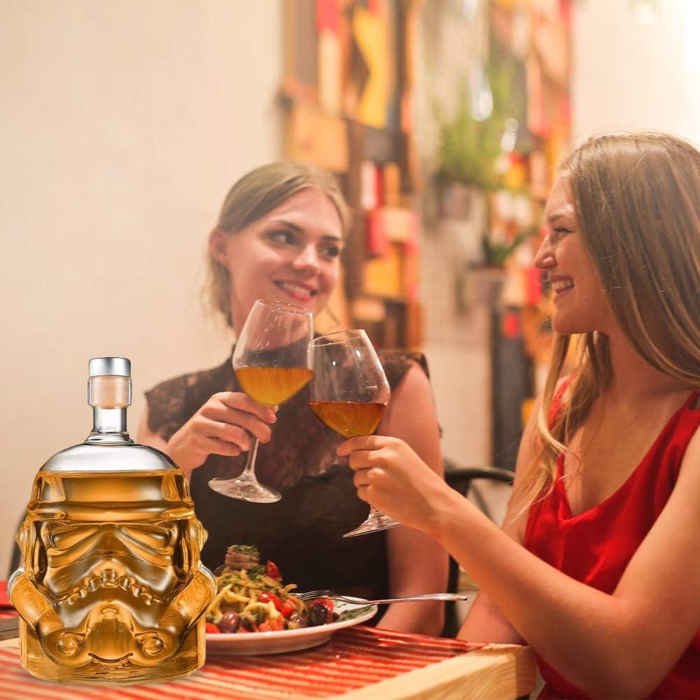 pour Whisky 750 ML Vodka et vin Carafe /à Whisky Bkuter bottle Carafe /à Whisky cr/éative transparenteBouteille Stormtrooper Kitchen-Well avec 2 Verres