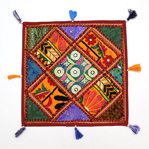 Beautifully Made New Design Interior Decor Bohemian Gypsy Hippie Traditional Hippy Indian Handmade Vintage Home Décor Ethnic Embroidered Multicolor Patchwork Pillow Shams Couch Cushion Cover Case