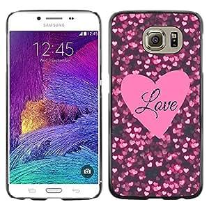 Paccase / SLIM PC / Aliminium Casa Carcasa Funda Case Cover para - Heart Text Pink Black Sparkle - Samsung Galaxy S6 SM-G920