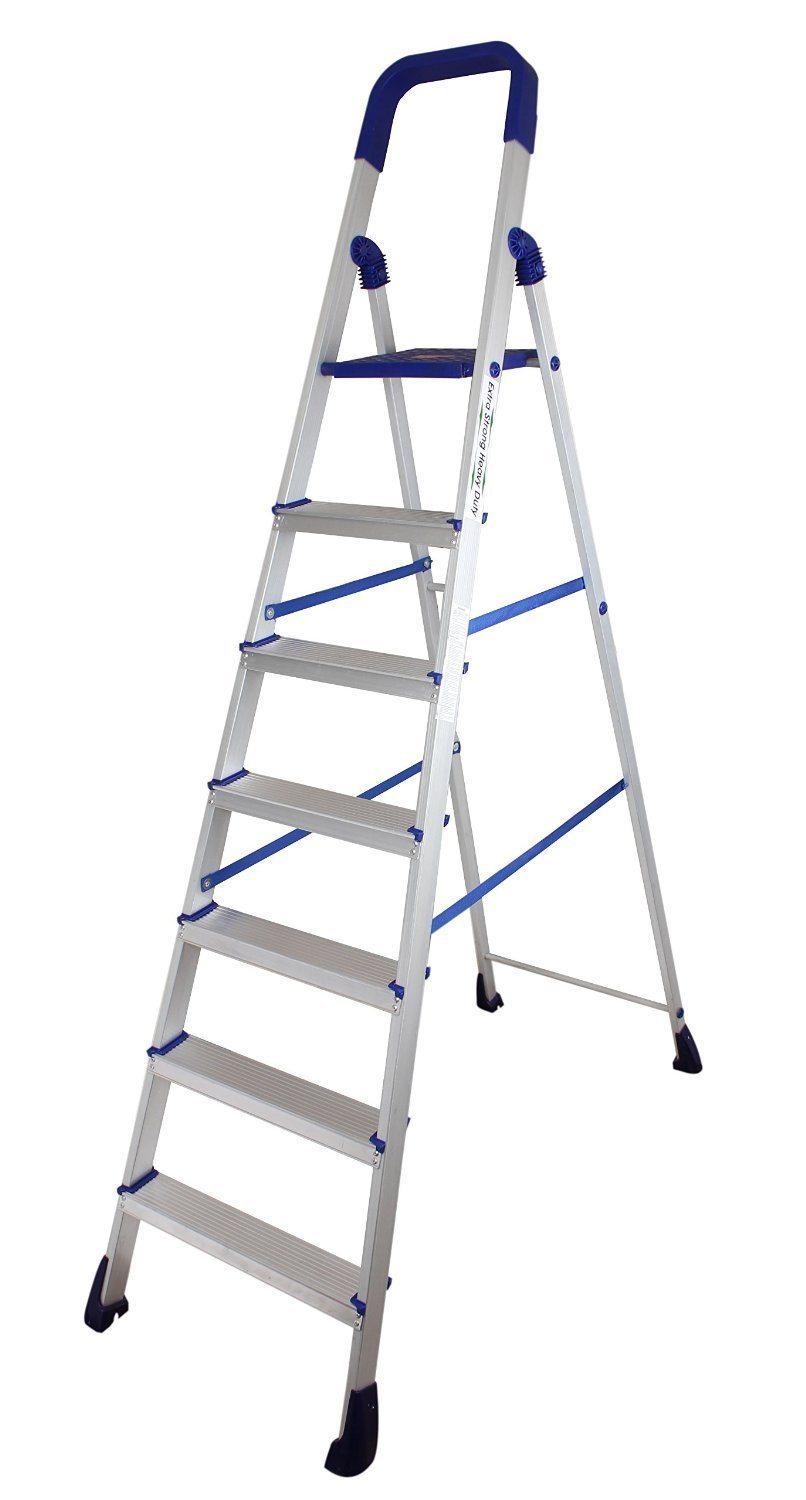 Parasnath Home Pro 7 Step Light Weight Aluminium Heavy Duty Folding Ladder 20 Years Warranty Made In India Amazon In Home Improvement