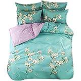 BeddingWish 寝具布団カバー4点セット 和式 四季を通じて 寝具用品 通気性 クイーン ボックスケース式 ベッド用 掛け布団カバーとボックスケースと枕カバー*2 (クイーン 210x210cm)梅の花