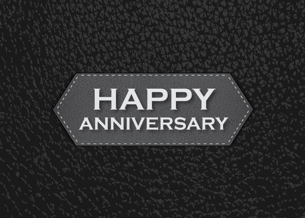 Anniversary Greeting Cards - A1702. Business Greeting Card Featuring Happy Anniversary on a Black Background with Leather Design. Box Set Has 25 Greeting Cards and 26 Bright White Envelopes. by CEO Cards (Image #1)