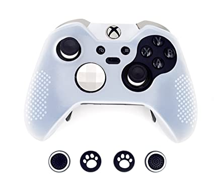 premium selection bd55e 40cb8 Taifond Anti-Slip Silicone Controller Cover Protective Skins for Microsoft  Xbox One Elite Controller with Four Thumb Grip Caps (White)