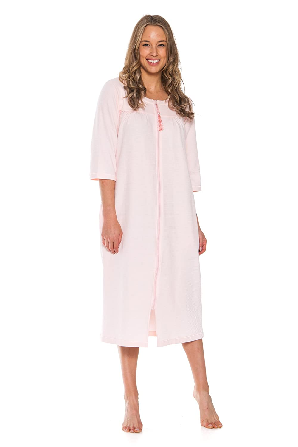 Patricia Women's Soft Waffle Knit Knee Length Zip up Nightgown Small)
