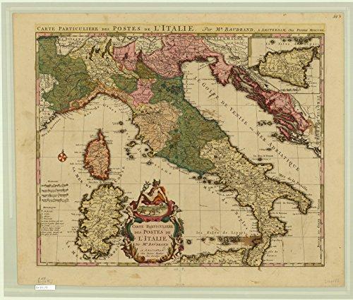 Historic Map | Italy 1695 | Carte particuliere des Postes de l'Italie | Antique Vintage Reproduction 24in x 20in