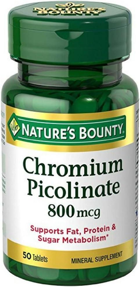 Nature's Bounty Mega Chromium Picolinate 800 mcg tablets 50 ea (Pack of 5)